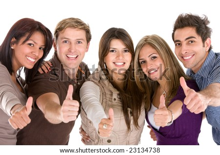 Cheerful group of friends with thumbs up isolated