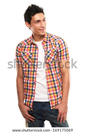 Cheerful handsome young man - stock photo