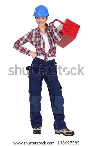 Cheerful handywoman - stock photo