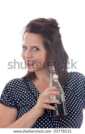 Cheerful, happy woman with a refreshing beverage in her hand; isolated on a white background. - stock photo