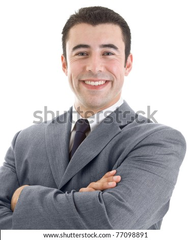Cheerful Hispanic business man against a white background - stock photo