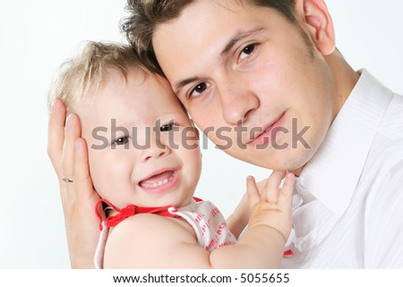 cheerful human baby white culture positivity father - stock photo