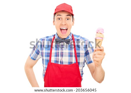Ice Cream Seller Drawing Cheerful Ice Cream Seller