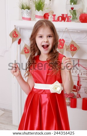 Cheerful joyful little girl - stock photo