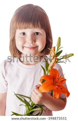Cheerful kid holding orange lily isolated on white - stock photo