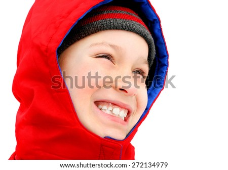 cheerful kid in the winter portrait closeup - stock photo