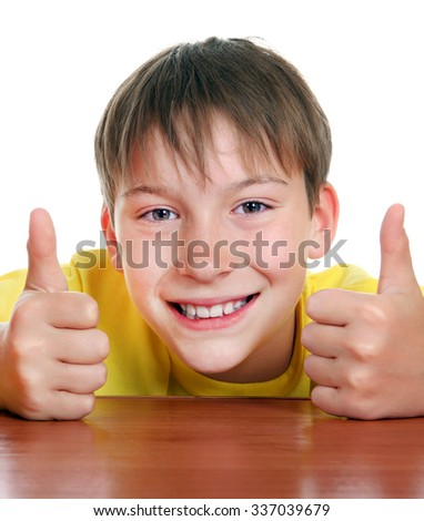 Cheerful Kid with OK Gesture on the White Background - stock photo