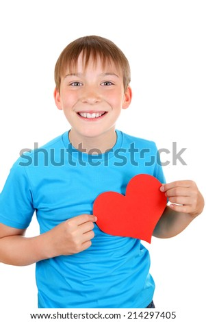 Cheerful Kid with Red Heart Shape Isolated on the White Background - stock photo