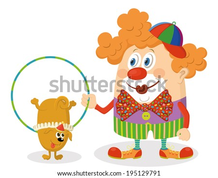 Cheerful kind circus clown in colorful clothes with hoop, through which jumping trained dog, holiday illustration, funny cartoon character isolated on white background. - stock photo