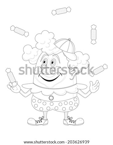 Cheerful kind circus clown juggling candies, holiday illustration, funny cartoon character, black contour isolated on white background. - stock photo