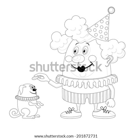 Cheerful kind circus clown with trained dog, holiday illustration, funny cartoon character, black contour isolated on white background. - stock photo