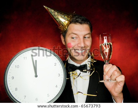 Cheerful lifestyle party celebrating boy enjoying successful party - stock photo