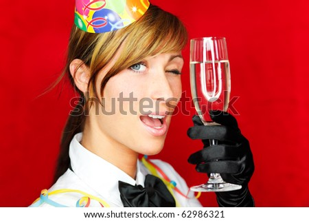 Cheerful lifestyle party celebrating girl enjoying successful party - stock photo