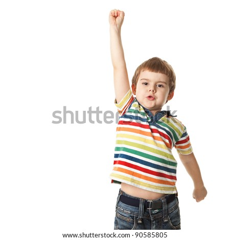 cheerful little boy raised his hand up. Isolated on white background.  shooting in the studio - stock photo
