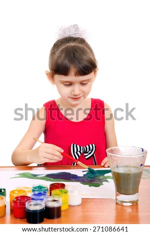 Cheerful Little Girl Drawing Isolated on the white background - stock photo
