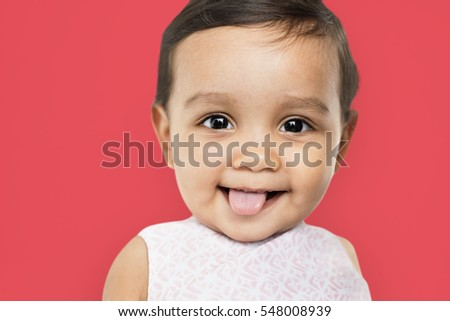 Cheerful Little Girl Happy Smiling Studio Concept