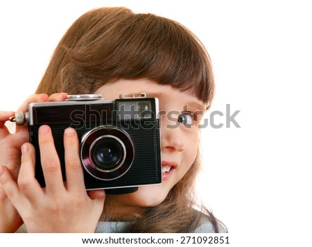 Cheerful Little Girl with Retro Film Photo Camera Isolated on the White Background - stock photo