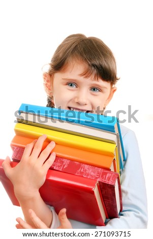 Cheerful Little Girl with the Books Isolated on the White Background - stock photo