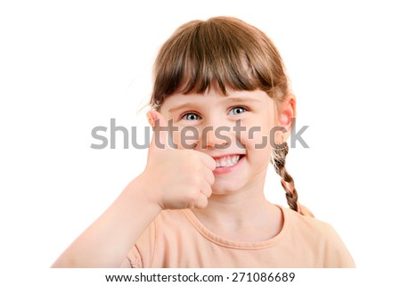 Cheerful Little Girl with Thumb Up Gesture Isolated on the White Background - stock photo