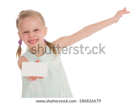 cheerful little girl with white blank. Isolated on white background. - stock photo