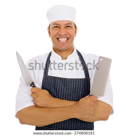 cheerful male chef with knives on white background - stock photo