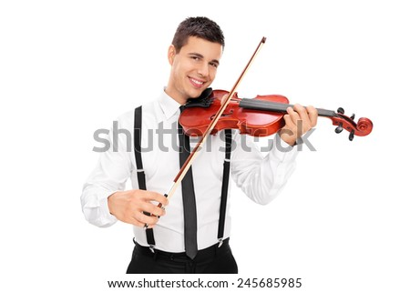 Cheerful male musician playing a violin isolated on white background - stock photo