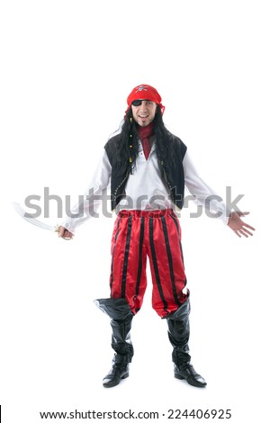 Cheerful man in pirate costume, isolated on white - stock photo