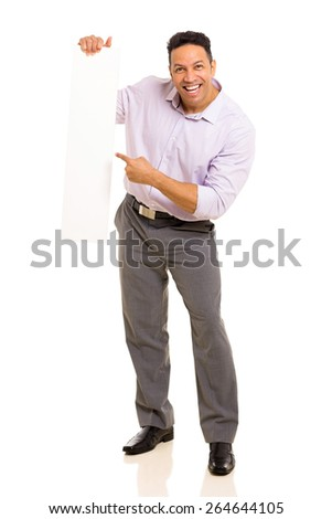 cheerful man pointing empty board isolated on white - stock photo