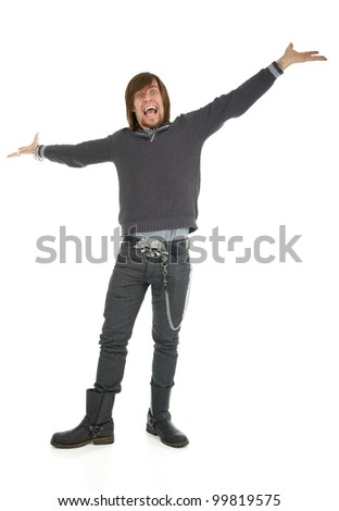 Cheerful man with funny expression and arms wide open on white background