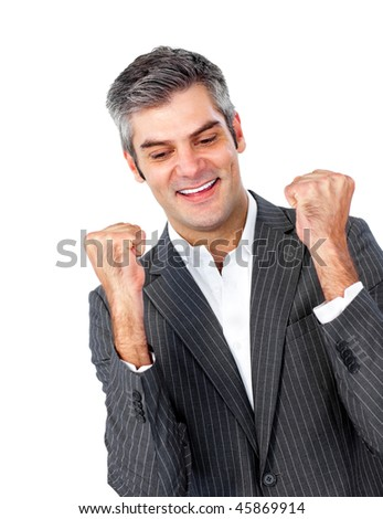 Cheerful mature businessman showing OK sign against a white background