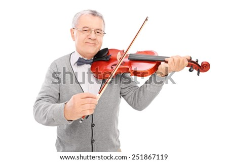Cheerful mature man playing a violin isolated on white background - stock photo
