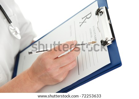 Cheerful medical doctor woman - stock photo