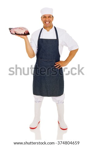 cheerful middle aged chef holding red meat isolated on white  - stock photo
