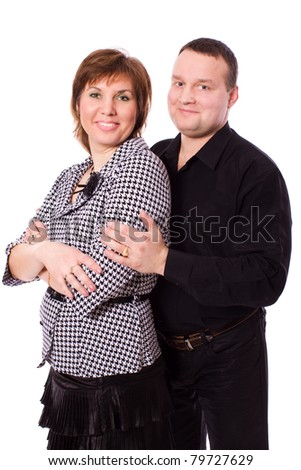 Cheerful Middle aged couple together isolated on white - stock photo