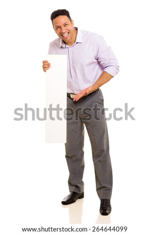cheerful middle aged man presenting blank board on white background - stock photo