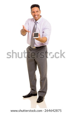 cheerful middle aged man presenting smart phone isolated on white - stock photo