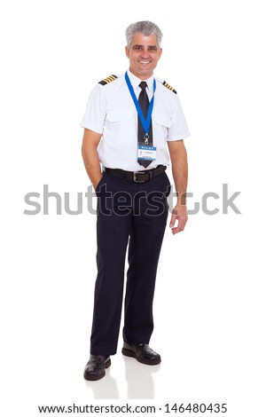 cheerful middle aged man wearing airline pilot uniform on white background - stock photo