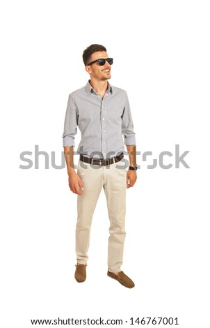 Cheerful modern man with sunglasses looking away isolated on white background
