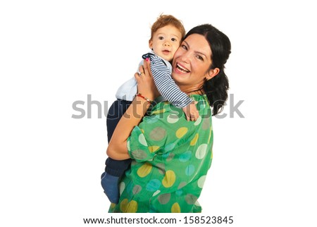 Cheerful mother and her baby isolated on white background - stock photo
