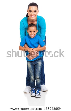 cheerful mother playing with her daughter on white background - stock photo