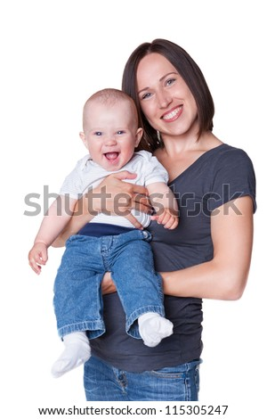 cheerful mother with smiley son. studio shot over white background