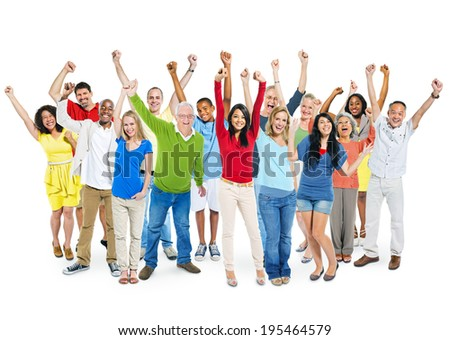 Cheerful Multi-Ethnic Group Of People With Their Arms Raised Indicating Celebration.