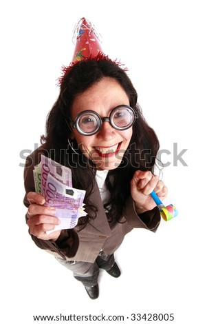 Cheerful nerd woman portraying a successful business woman - similar available