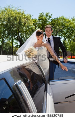 Cheerful newly wed couple getting in the car - stock photo