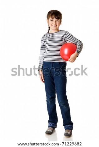 cheerful nine years Girl holding ball isolated on white - stock photo