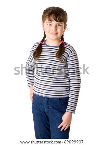 cheerful nine years Girl isolated on white
