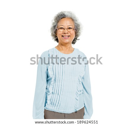 Cheerful Old Casual Asian Woman - stock photo