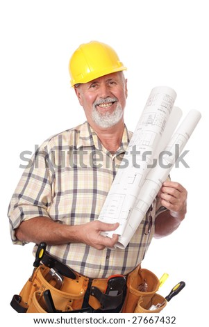Cheerful older architect holding blueprints and smiling - stock photo