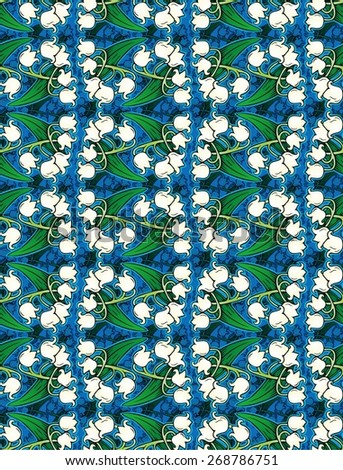 cheerful pattern of lilies of the valley - stock photo