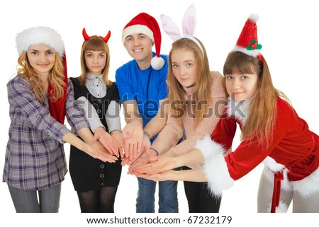 Cheerful people give one general gift isolated on a white background - stock photo